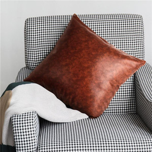 PU Leather Square Pillow Cover 18x18 Inch Soft Sofa Cushion Cover Pure Color Zipper Pillow Case Home Decoration Pillowcase Gift