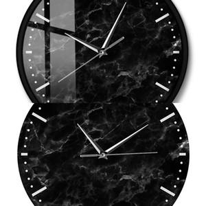 Minimalista Black Mármol Reloj de Mármol Negro Mármol Imprimir Reloj de pared silencioso para la sala de estar Decoración Moderno Reloj de arte abstracto abstracto J1216