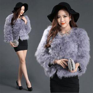 LIYAFUR New Women's 100% Real Genuine Ostrich Fur Winter Coat Jacket Outwear O-Neck Fashion