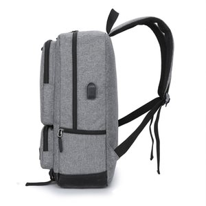 Mens Backpack Casual Business Laptop Backpack Male USB Socket Teen Student Schoolbag Womens Daily Work Bag Black Gray Blue
