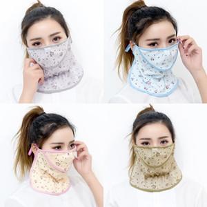 Máscara Moda exterior Passeio Boca multi cores bonito Pequena Flor Padrão de gelo cara de seda Máscaras Anti Sun respirável Esporte Respirador 3zg L2
