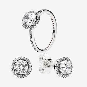 Big CZ Diamond Ninger Anillo de bodas y pendiente Conjunto con caja original para Pandora 925 Sterling Silver Women Rings Stud Pendientes