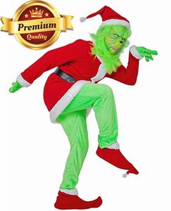 trasporto veloce marca Babbo Natale Grinch Stole del costume della mascotte della festa di Natale del vestito Outfits per i guanti unisex e maskHalloween impostare FWF2523