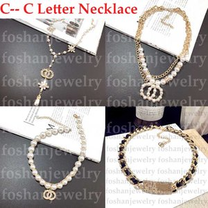 Mode Designer Halskette Brief Frauen Anhänger Halskette Kristall Diamant Pearl Luxurys Gold Halsketten Dame Schmuck Sonderangebot