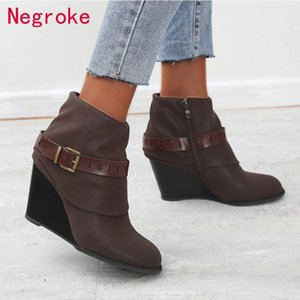 Brand Women Vintage Suede Leather Boots Fashion Women Wedges Leather Buckle Short Booties Woman Shoes Boot big size 43