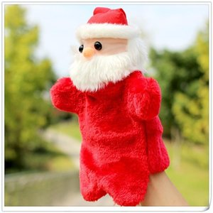 Kid Plush Hand Puppet Toys 2020 Christmas Handheld toy doll Cartoon Santa Claus xmas Doll Baby