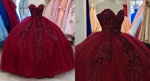 Sexy Burgundy Sweetheart 2021 Quinceanera Prom dresses 3D Floral Flowers Real Photo Crystal Bead Ball Gown Long Formal Party Sweet 16 Dress