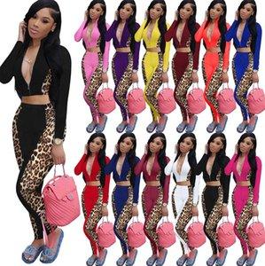 Sexy Spring Womens Cousssuit Deep V Vece Outfit Leopard Laopwork Tootwork ZIP-куртка на молнии Hoodie Part Cross Top и брюки Леггинсы E122401