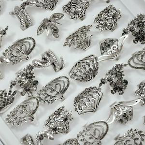 Flores retrô e plantas banda anel de chapeamento antiga liga de prata jóias anéis de moda acessórios de moda rinestone anel de dedo 2 18yd g2b