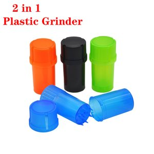 cheapest Plastic 2 in 1 Tobacco Grinder Bottle Style Crusher Herbal Herb Spice Grinding Crusher Airtainer Storage Container Case Multi-funct