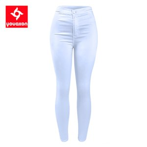 1888 Youaxon Women`s High Waist White Basic Casual Fashion Stretch Skinny Denim Jean Pants Trousers Jeans For Women 201102