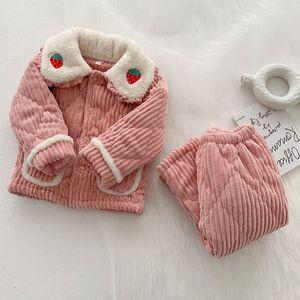 Kids Pajama مجموعات كودري الكرتون جديد طفل الشتاء ملابس فتاة زائد المخملية سماكة الملابس المنزلية عارضة الدافئة سميكة منامة W1222