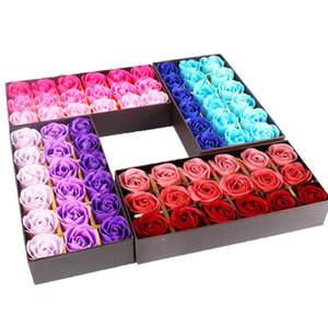 18 stücke duftende romantische rose blume blütenblatt seife hochzeitsparty dekoration valentinstag geschenk (mit einer Geschenkbox)