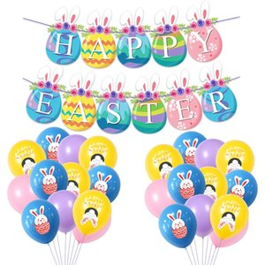 Easter Party Decor Colorato Happy Pasqua Lettera Banner Banner Bange FAI DA TE Appeso Bandiere Pasqua Eggs Decorazioni per la casa Forniture per feste GWF4929