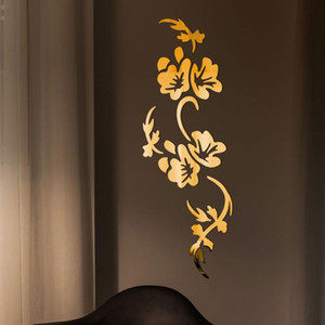 Wall Stickers 3D Flowers Design Acrylic Mirror Sticker Bedroom Living Room Porch Decorative Wallpaper Decal Home Office Bar Decoration