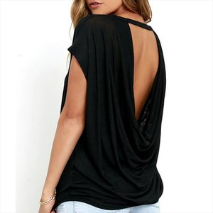 Hot Sale Women Casual Backless Short Sleeve TShirt Summer Casual Loose O neck Tops Tees Black white Open Back T Shirt