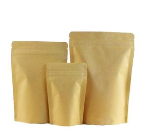 Wholesale Brown Foil Stand-up Heat Sealable Resealable Zip Pouch, Kraft Paper Food Storage Packaging Bag With Tea jllKYj insyard