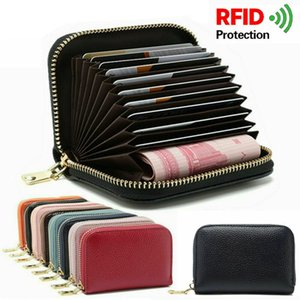 RFID Blocking Men Leather Wallet Card Holder Business Credit Cards Zip Pocket Case Women Purse Clip Multiple Card Slots Package