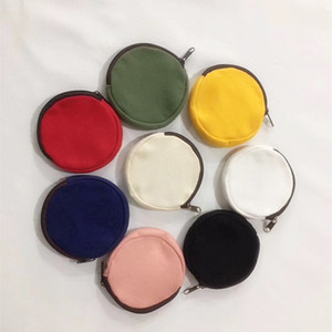DIY Blank Round Canvas Zipper Pouches Cotton Kawaii Coin Purses Pencil Cases Pencil Bags 8 Colors