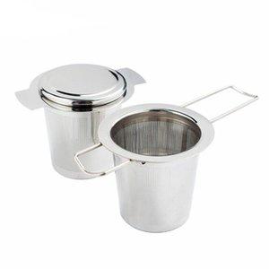 304 aço inoxidável prata coador de chá Folding dobrável Tea Infuser Basket Para Bule Cup Teaware DWD2554