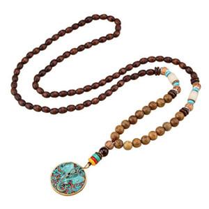 Vintage Népal Népal Bouddhiste Mala Collier long Collier de bois Perles de Bouddha Déclaration Éléphant Pendentifs Colliers Femmes Hommes Dropshipping
