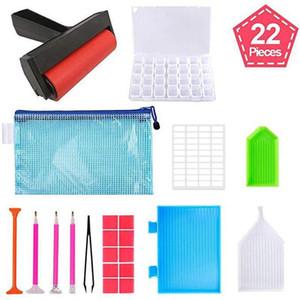 22 Diamonds Pieces 5D Pintura Ferramentas e Acessórios Kits com diamante Pintura do rolo e Diamond Bordado Box para adultos ou Kid BWE1264