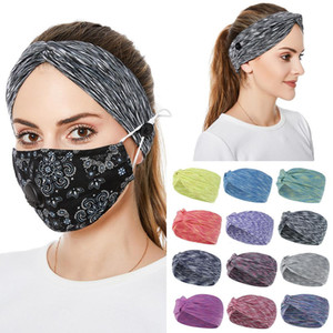 Face Mask Headband with Button Ear Protective Women Gym Sports Yoga Hairband Elastic Hairlace Headress Cross Hair Accessories Solid Color