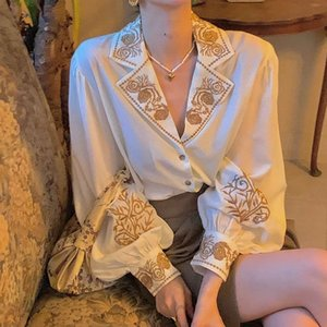 European and American autumn high quality retro lantern sleeve embroidered loose shirt