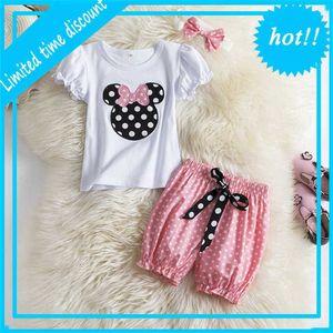 Mini Mouse 3 Stuks Set Newborn Baby Girl Cartoon Tops Dot Broek + Headband Birthday Outfits Children Girls casual Clothing