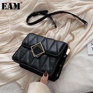[EAM] Женщины Новая черная маленькая квадратная пряжка PU кожаная лоскутная личность все-матч Crossbody сумка модный прилив 2021 18A1147