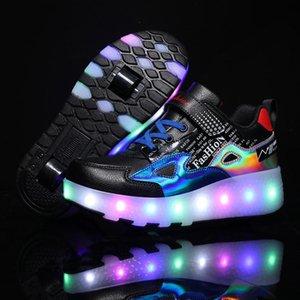 Tamaño de exterior atlético 28-43 Zapatillas de patín de rodillos para niños con luces LED Zapatillas de deporte luminosas cargadas por USB sobre ruedas para niños Boys Girls Glowin