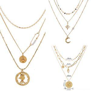 5HX8U ювелирные изделия крыла кулон Rhinestone Orb ожерелье Женщины Аксессуары Planet Orbit Chain многослойное ожерелье для Многоцветный Кристалл F