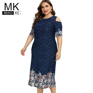 2020 Summer womens Plus Size Print Flower Off shoulder Dress fashion Ladies Chiffon party elegant dresses 4XL 5XL 6XL