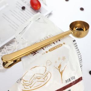 5 colores café Scoops medir Cucharas de acero inoxidable 430 de cucharas Hornear con herramientas Clip de medir de cocina ZZA1520