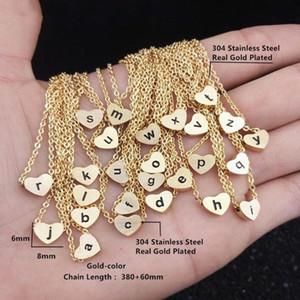 a b c g h i j k l m n o p q r s t u v w x y z Stainless Steel Heart Shape Necklaces for Women Men Gold Color A-Z Letter Necklace