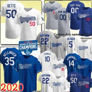 2020 # 50 Mookie Betts 35 Cody Bellinger 22 Clayton Kershaw Jersey Enrique Hernandez Justin Turner Corey Beisebol Personalizado