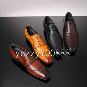 2019 Fashion Brand Men's Casual Business Dress Brogue Shoes For Wedding Party Leather Black Brown Pointed Toe Oxford Shoes fdzhlzj