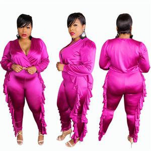 Womens Plus Size Jumpsuits Sexy V Neck Black Fungus Edge Long Sleeve Long Pants Womens Jumpsuits Casual 5XL Females Plus Szie Clothing