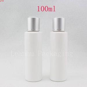 wholesale 100ml white round empty PET cosmetic plastic bottles with aluminum cap 100g luxury lotion cream container bottlehigh qualtit