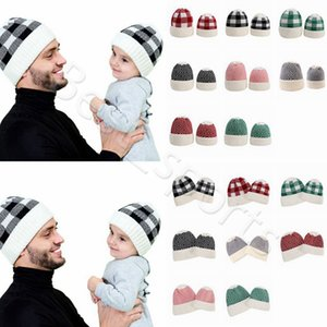 Parent-child Beanie 8 Colors Winter Warm Adult Kids Knitted Caps Outdoor Sports Beanies Plaid Wool Hats Festive Party Hats CYZ2860