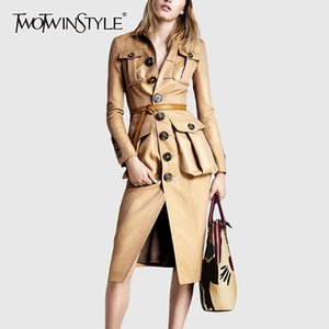 TwoTwinstyle PU-Leder Damen Windjacke Revers Kragen Langarm High Taille Trench Coats Weibliche Herbstmode Neue 201030
