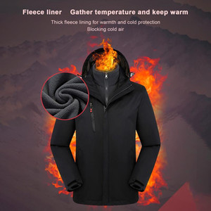 Winter Warm Women Jackets Hooded Zipper Windproof Waterproof Coat Two Pieces Set Solid Hikiing Sking Cycling Athletic Overcaot#3