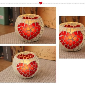 Retro Mosaic Burning Glass Decoration Candlestick Continental Bar Cup Candle Holder Home Accessories Xmas Gifts
