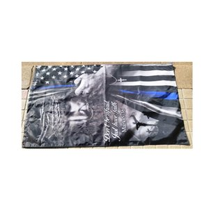 Double Sided Flags 3x5,Jesus Christian Thin blue Line Flags Banner, 3 Layers , 100D Polyester Fabric, Free Shipping