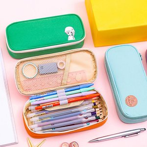 Portable Oxford stoffa cartone animato Kawai astuccio con cerniera grande capacità di impostare belle regola penna materiale scolastico confezione