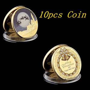 10pcs 2020 Colour Christmas Santa Claus Gold Plated Commemorative Coin Souvenir Collectible Art High Quality And Brand New