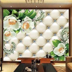 Custom Photo Papel De Parede 3D European Style Soft Case Diamond Flowers Luxury Living Room TV Background Wall Mural Wallpaper