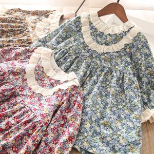 Sweet Girls Floral Printed Dress 2021 Spring New Children Lace Falbala Long Sleeve Dress Kids Flowers Princess dress A5587