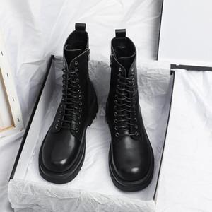 Yuxiang Otoño Botas Botas Mujeres Mujeres Redondo Toe Hebilla Zapatos Mujeres Aumento interno Moda Moda Tallas Tallas Cuadradas Lacing1