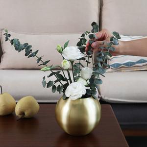 Vase Home Decor Unbreakable Metal Flower Vase Living Room Decoration Golden Polished Flowerpot Minimalist Crafts